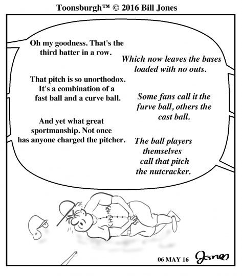 Toonsburgh cartoon of a baseball batter writhing in pain after getting hit in the groin with a fastball.