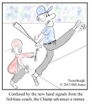 Toonsburgh cartoon of a baseball batter kicking the ball as he was confused by the 3rd base coach hand signals.
