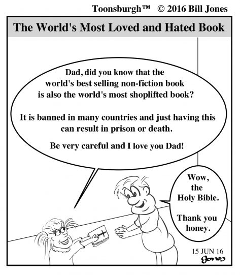 Toonsburgh cartoon of daughter presenting Dad with the world's best selling non-fiction book, the Holy Bible.
