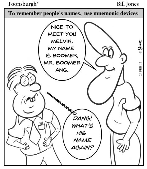 Toonsburgh cartoon of someone trying to remember another's name through mnemonic devices after having just met.