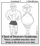 Toonsburgh cartoon of chest of drawers syndrome where a once muscular chest has dropped down to the drawers.