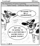Toonsburgh cartoon of two cows talking as one wants to be a hamburger, with the other wanting to be a belt or a jacket.