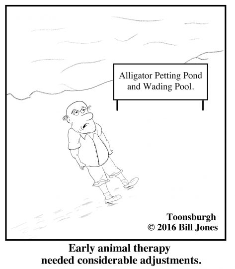 Toonsburgh cartoon of early animal therapy failures as man walks beside alligator petting pond and wading pool.