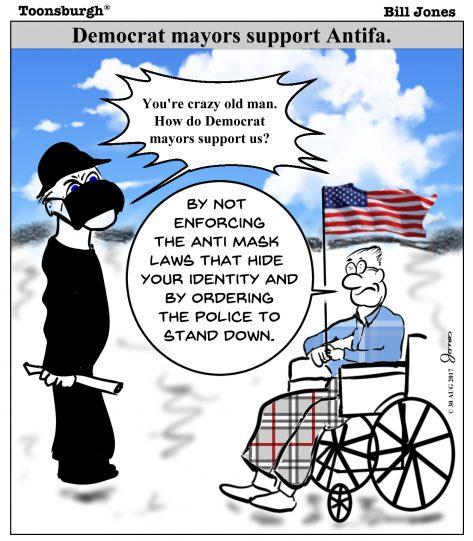 Toonsburgh cartoon of violent Antifa protestor confronting patriotic wheelchair bound elderly man in a democratic city.