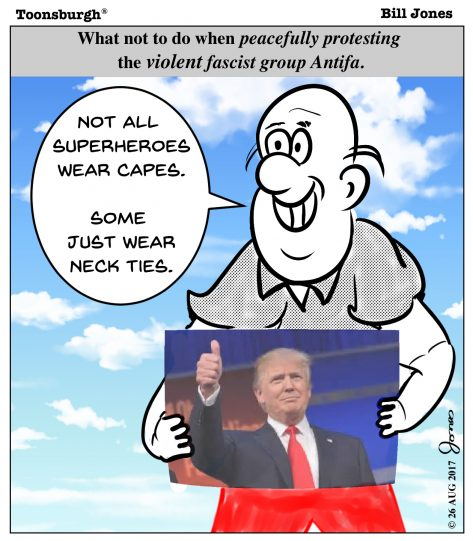Toonsburgh cartoon of peaceful man holding up a superhero picture of Donald Trump in front of a violent Antifia mob.