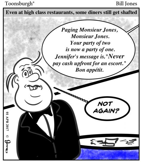 Toonsburgh cartoon of a man in a high class restaurant being paged with a message regarding his no-show escort.