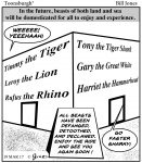 Toonsburgh cartoon of future zoos and aquariums where kids can ride tigers, lions, rhinos and sharks.