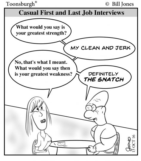 Toonsburgh cartoon of a man failing a job interview with a woman as he mentions his greatest strengths and weaknesses.