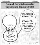 Toonsburgh cartoon of natural peanut vendor at baseball games who has a head shaped just like a peanut.