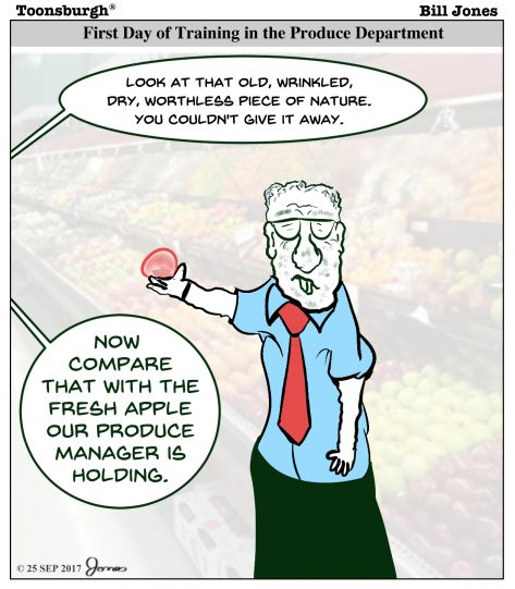 Toonsburgh cartoon of 1st day of training in produce department when trainees are confused between manager and produce.