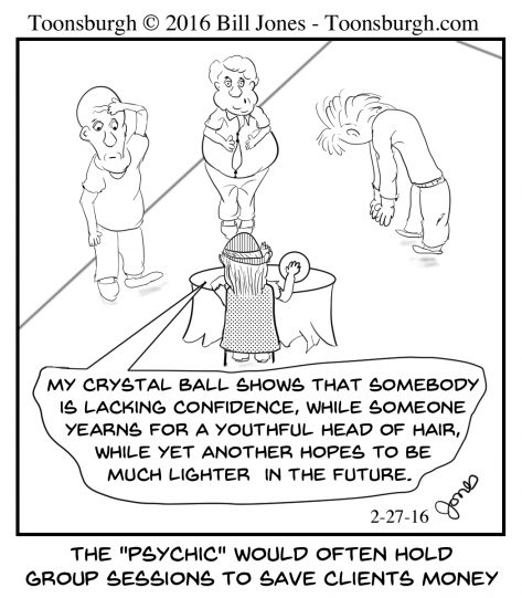 Toonsburgh cartoon of psychic holding a group session to save 3 men money as she accurately describes everyone's problems.