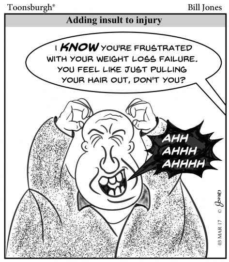 Toonsburgh cartoon of a man frustrated with his weight loss failure and he wants to pull out his hair but he's bald.