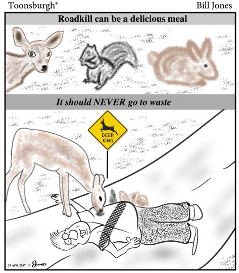 Toonsburgh cartoon showing that road kill should never be wasted as animals enjoy a meal of a human hit by a car.