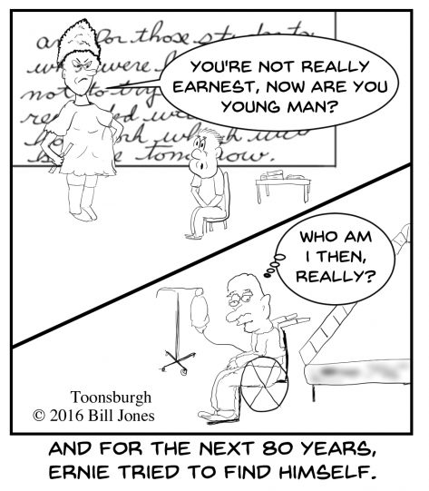 Toonsburgh cartoon of young man being confused by a teacher's question and it still bothers him 80 years later.