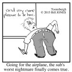 Toonsburgh cartoon of a substitute teacher bending down to pick up a paper airplane when his pants split in the back.