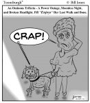 Toonsburgh cartoon of ominous trifecta - power outage, moonless night, broken headlight while taking Fif for her last walk.