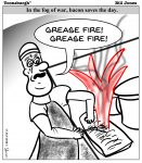 Toonsburgh cartoon of an Army cook accidentally causing a cease fire as he yells grease fire, grease fire while cooking bacon.