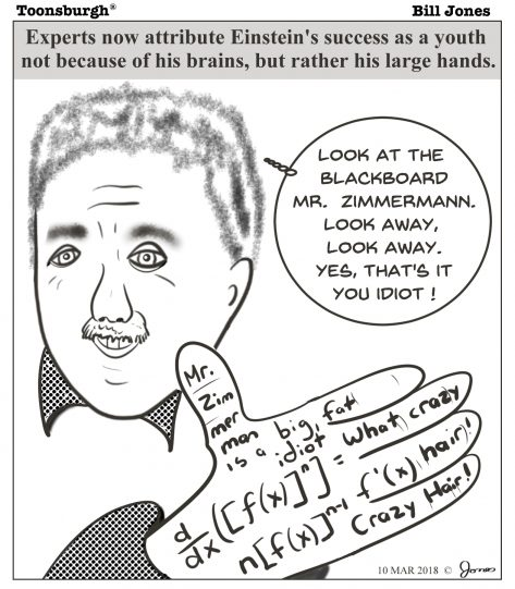 Toonsburgh cartoon of Albert Einstein as a young student using his hands as a cheat sheet.