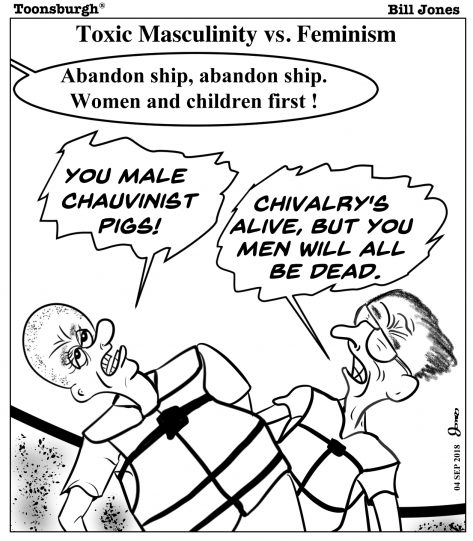Toonsburgh® cartoon of chivalrous men allowing women and children to abandon ship first while two feminists get angry yelling male chauvinist pigs.
