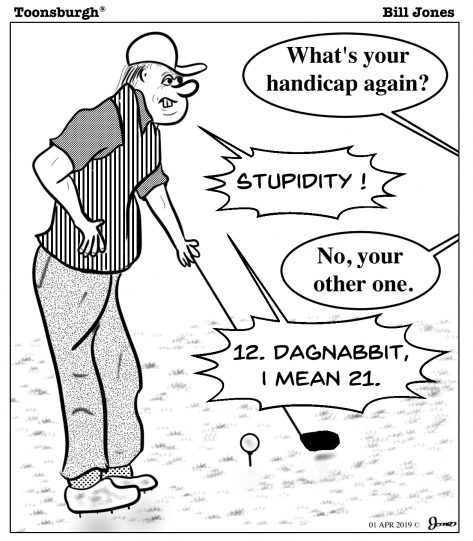 Toonsburgh® cartoon of a golfer getting ready to tee off and being asked his handicap and he gets confused.