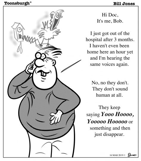 Toonsburgh® cartoon of a man hearing voices after just getting out of the hospital.