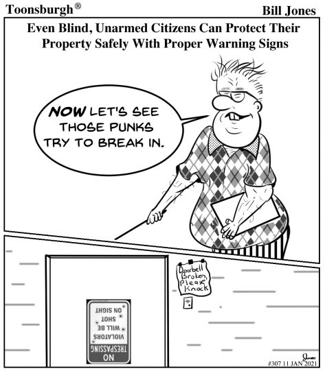 Toonsburgh® cartoon of a blind man putting a sign on his door to warn intruders.